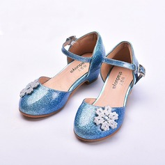 Girl's Patent Leather Low Heel Closed Toe Flats With Crystal Heel