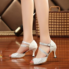 Women's Sparkling Glitter Heels Sandals Latin With Rhinestone Dance Shoes