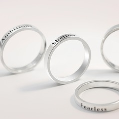 Personalized Ladies' Stylish 925 Sterling Silver With Round Engraved Rings For Bridesmaid/For Friends/For Couple