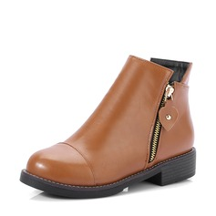 Women's Leatherette Chunky Heel Flats Boots Ankle Boots With Zipper shoes