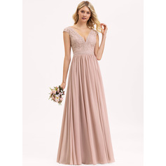 V-neck Floor-Length Chiffon Lace Evening Dress (271236256)