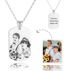 Custom Sterling Silver Tag Mens Necklace Black And White Photo Engraved Engraved Necklace Photo Necklace - Birthday Gifts