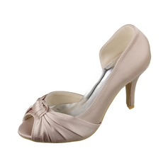 Women's Satin Stiletto Heel Peep Toe Sandals With Ruched