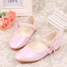 Girl's Closed Toe Leatherette Flat Heel Flower Girl Shoes With Beading Bowknot Velcro