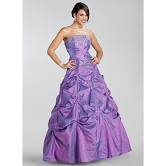 Ball-Gown Strapless Floor-Length Taffeta Quinceanera Dress With Embroidered Ruffle Beading Sequins (021020886)