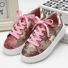 Girl's Closed Toe Leatherette Flat Heel Flats Sneakers & Athletic With Lace-up
