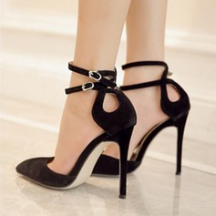 Women's Suede Leatherette Stiletto Heel Sandals Pumps Closed Toe With Split Joint shoes