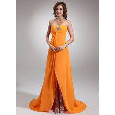 Empire Sweetheart Asymmetrical Chiffon Prom Dress With Ruffle Beading
