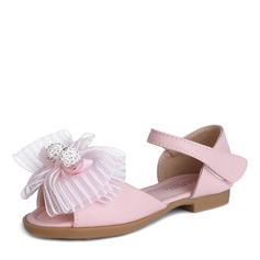 Flicka Peep Toe Microfiber läder Sandaler Flower Girl Shoes med Bowknot