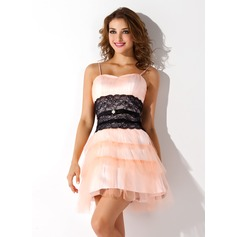 A-Line/Princess Sweetheart Short/Mini Tulle Homecoming Dress With Ruffle Lace Beading Cascading Ruffles