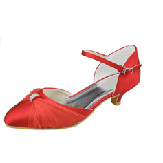 Women's Satin Kitten Heel Closed Toe Pumps With Buckle Rhinestone