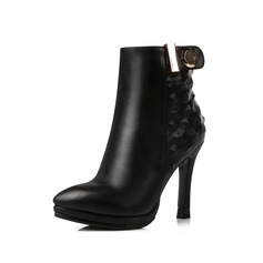 Women's Leatherette Stiletto Heel Ankle Boots With Buckle Zipper shoes