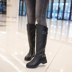 Women's PU Chunky Heel Boots Knee High Boots With Stitching Lace Zipper shoes