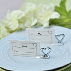 """Love Story""/""Happy Time"" Heart Shaped Zinc Alloy Place Card Holders"