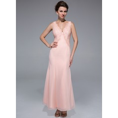 Trumpet/Mermaid V-neck Ankle-Length Chiffon Mother of the Bride Dress With Beading