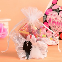 Bride & Groom Basket Favor Bags With Ribbons