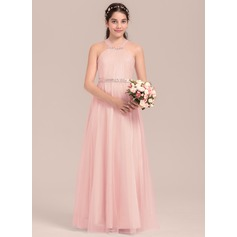 A-Line/Princess Floor-length Flower Girl Dress - Tulle/Charmeuse Sleeveless Square Neckline With Beading