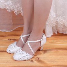 Women's Satin Closed Toe With Rhinestone Lace-up Applique