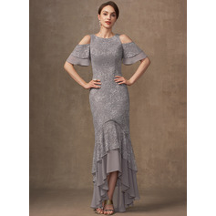 Trumpet/Mermaid Scoop Neck Asymmetrical Chiffon Lace Mother of the Bride Dress With Cascading Ruffles