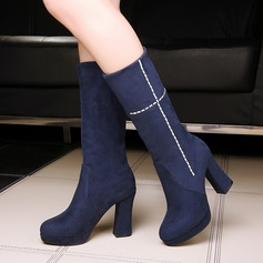 Women's Suede Chunky Heel Boots With Others shoes