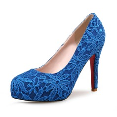 Women's Lace Stiletto Heel Pumps Platform Closed Toe With Stitching Lace shoes