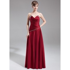 A-Line/Princess Scalloped Neck Floor-Length Satin Bridesmaid Dress With Ruffle Beading