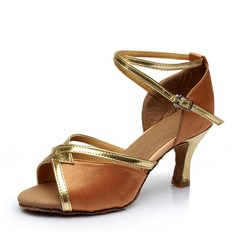 Women's Satin Heels Sandals Latin With Buckle Hollow-out Dance Shoes
