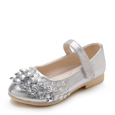 Jentas Lukket Tå Leather flat Heel Flower Girl Shoes med Rhinestone Velcro