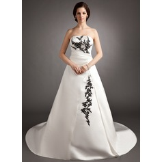Ball-Gown Strapless Court Train Satin Wedding Dress With Ruffle Beading Appliques Lace Sequins