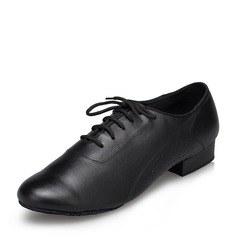 Men's Leatherette Flats Ballroom With Lace-up Dance Shoes