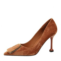 Women's Suede Stiletto Heel Pumps Closed Toe With Buckle shoes (085154449)