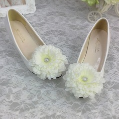 Women's Patent Leather Closed Toe Pumps With Imitation Pearl Satin Flower Stitching Lace