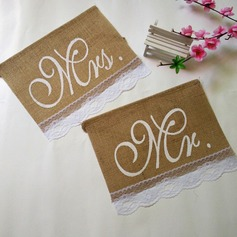 """MR & MRS"" Linen Photo Booth Props/Banner"