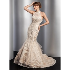 Trumpet/Mermaid High Neck Chapel Train Tulle Wedding Dress With Lace Beading Sequins