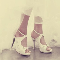 Kvinner Blonder Stiletto Hæl Titte Tå Platform Sandaler Beach Wedding Shoes med Rhinestone