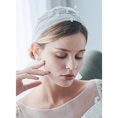 One-tier Cut Edge Fingertip Bridal Veils With Beading