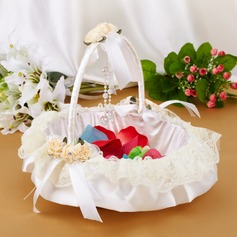 Elegant Flower Basket in Satin & Lace With Bow
