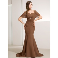 Trumpet/Mermaid Off-the-Shoulder Sweep Train Chiffon Mother of the Bride Dress With Ruffle Beading