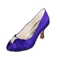 Women's Satin Spool Heel Closed Toe Pumps With Rhinestone