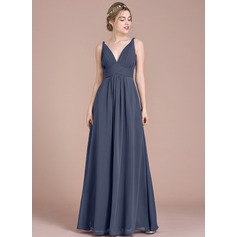 Empire V-neck Floor-Length Chiffon Prom Dress With Ruffle