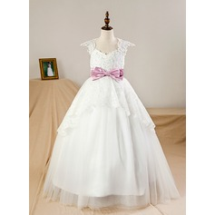 A-Line/Princess Floor-length Flower Girl Dress - Satin/Tulle Short Sleeves V-neck With Beading/Bow(s) (Petticoat NOT included)