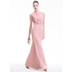 Sheath/Column Scoop Neck Floor-Length Chiffon Evening Dress With Ruffle Bow(s)