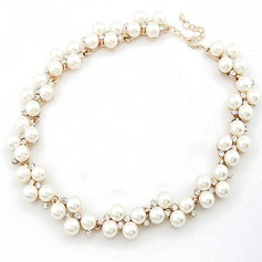 Exquisite Alloy/Pearl With Rhinestone Ladies' Necklaces