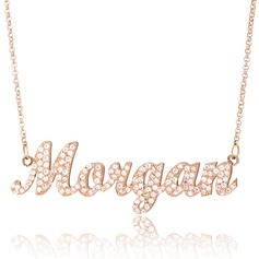 Custom 18k Rose Gold Plated Silver Name Necklace With Diamond (288213027)