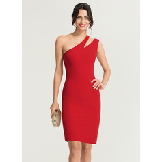 Sheath/Column One-Shoulder Knee-Length Stretch Crepe Homecoming Dress