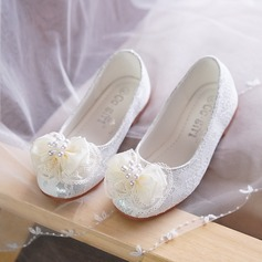Girl's Lace Flat Heel Round Toe Closed Toe Sandals With Beading Bowknot