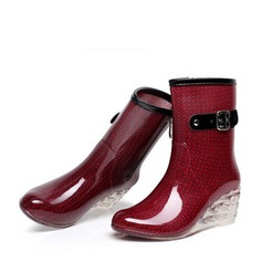 Women's PVC Wedge Heel Wedges Boots Mid-Calf Boots Rain Boots With Buckle Zipper Jewelry Heel shoes (088127030)