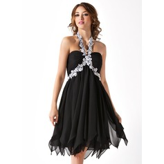 Empire Halter Knee-Length Chiffon Homecoming Dress With Beading Appliques Lace Cascading Ruffles