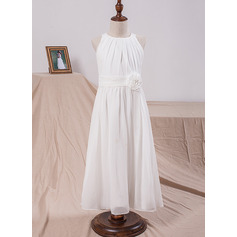 A-Line Ankle-length Flower Girl Dress - Chiffon Sleeveless Scoop Neck With Flower(s) (Undetachable sash)