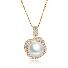 Charming Copper/Zircon With Pearl Ladies' Necklaces